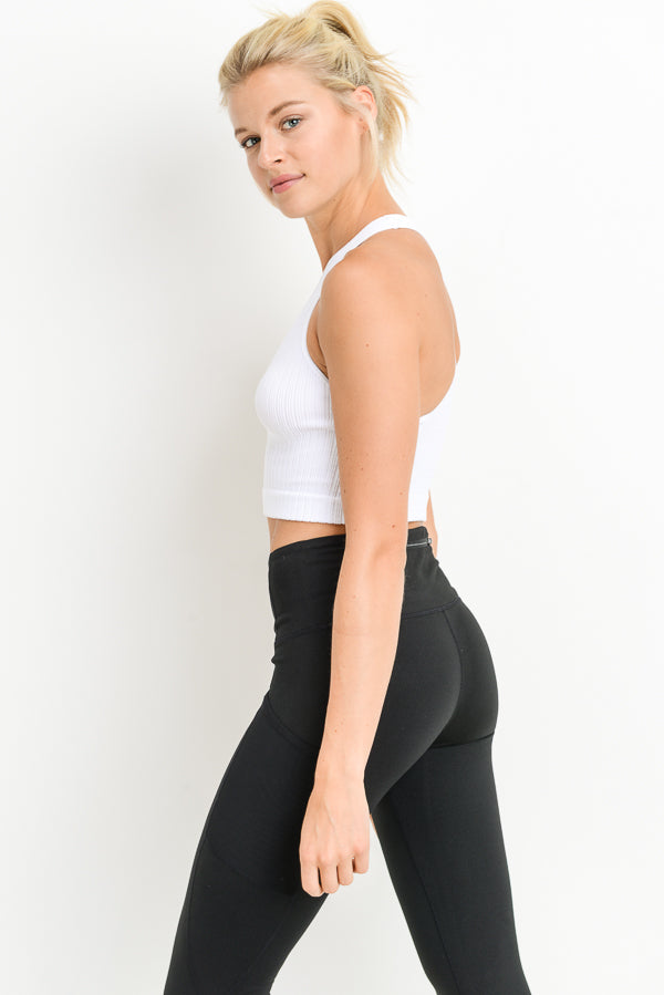 Seamless Racerback Crop Tank Top in White | Allure Apparel Co