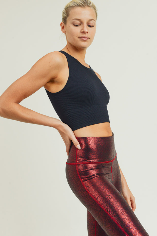 Seamless Ribbed Crop Top in Black | Allure Apparel Co