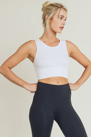 Seamless Ribbed Crop Top in White | Allure Apparel Co