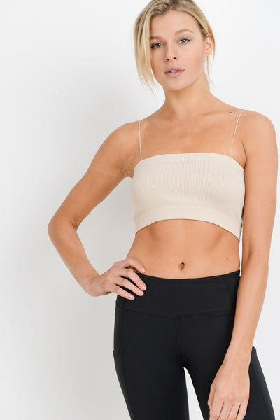 Seamless Ribbed Micro Strap Tube Top in Natural | Allure Apparel Co