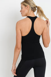 Seamless Ribbed Racerback Tank Top in Black | Allure Apparel Co