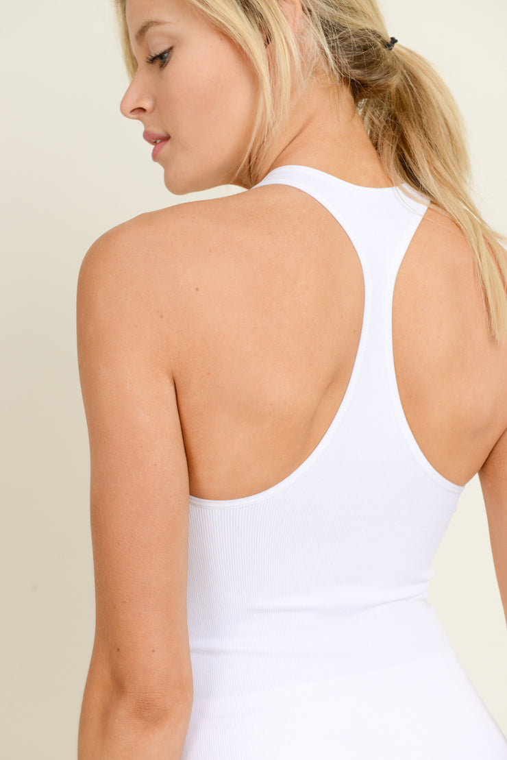 Seamless Ribbed Racerback Tank Top in White | Allure Apparel Co