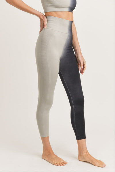 Seamless Ribbed Split Dye High Waisted Leggings in Light Grey/Black | Allure Apparel Co