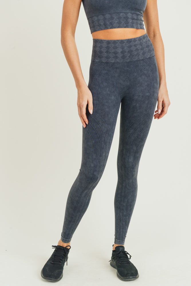 Seamless Silhouette Mineral Wash High Waisted Leggings in Black | Allure Apparel Co