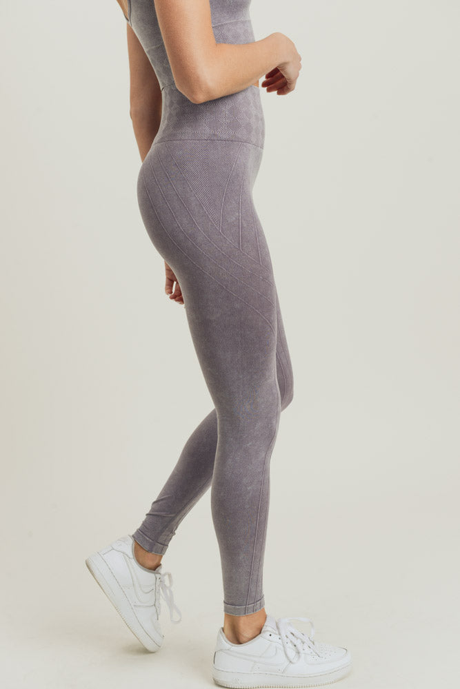 Seamless Silhouette Mineral Wash High Waisted Leggings in Mauve | Allure Apparel Co