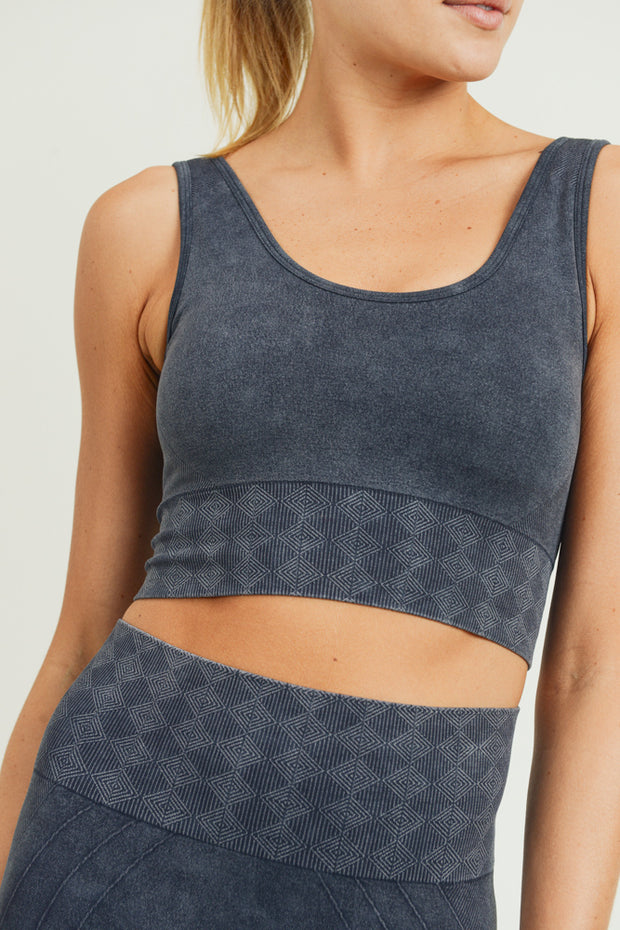Seamless Silhouette Mineral Wash Sports Bra in Black | Allure Apparel Co