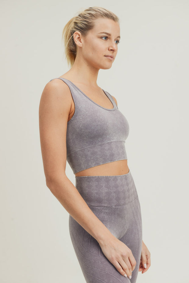 Seamless Silhouette Mineral Wash Sports Bra in Mauve | Allure Apparel Co