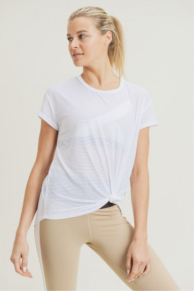 Sheer Striped Mesh Panel Tee in White | Allure Apparel Co
