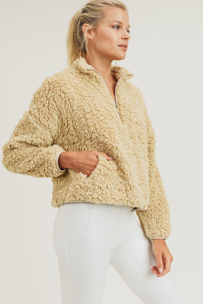 Sherpa Cropped Half-Zip Jacket in Camel | Allure Apparel Co