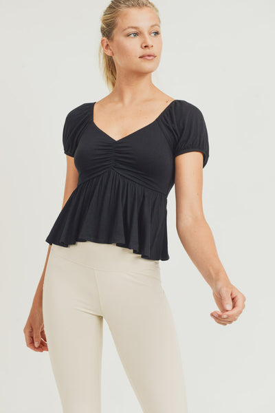 Shirred Cropped Peasant Top in Black | Allure Apparel Co