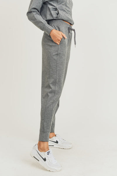 Side-Paneled Cuffed Joggers in Heather Grey | Allure Apparel Co