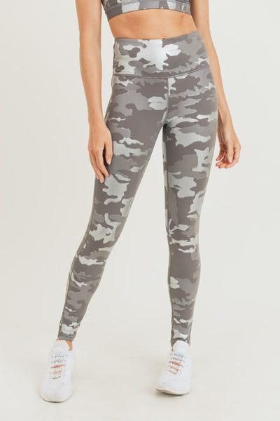 Silver Foil Camo High Waisted Leggings | Allure Apparel Co