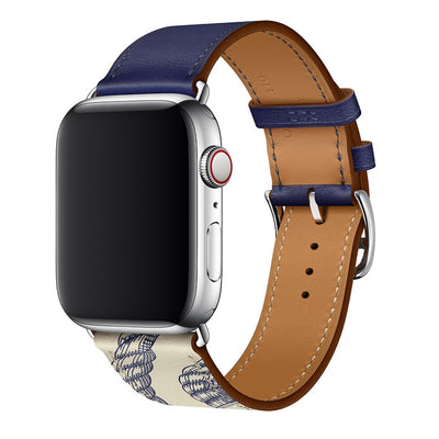 Single Tour Leather Band for Apple Watch in Encre Beton | Allure Apparel Co