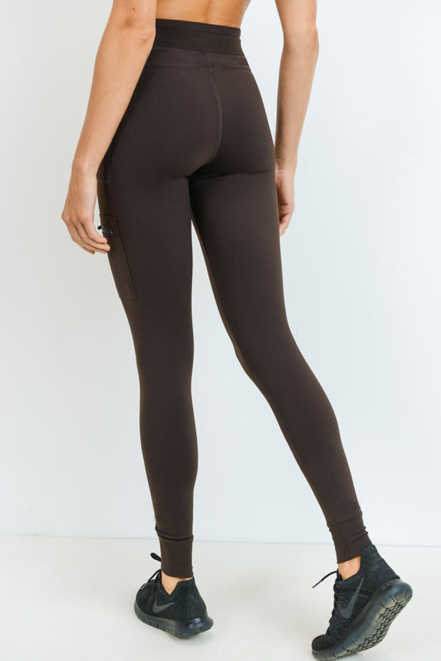 Skinny Cargo Hybrid Full Leggings in Coffee | Allure Apparel Co
