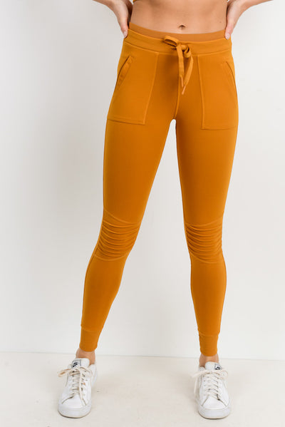 Skinny Cargo Moto Hybrid Joggers in Ambergold | Allure Apparel Co