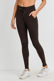 Skinny Cargo Moto Hybrid Joggers in Coffee | Allure Apparel Co