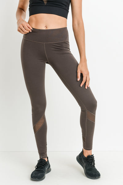 Slanted Mesh Shin Panels Full Leggings in Brown | Allure Apparel Co