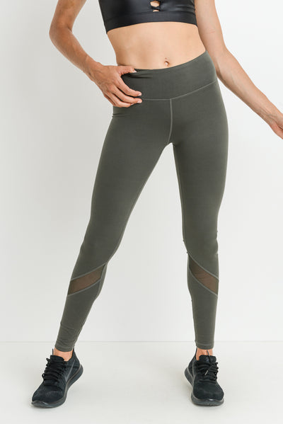 Slanted Mesh Shin Panels Full Leggings in Dark Olive | Allure Apparel Co
