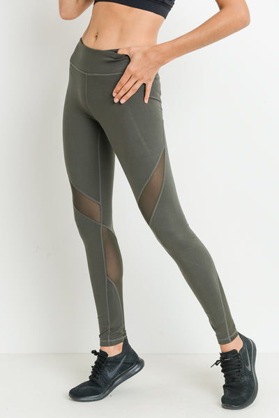 Slanted Wrap Mesh Full Leggings in Dark Olive | Allure Apparel Co