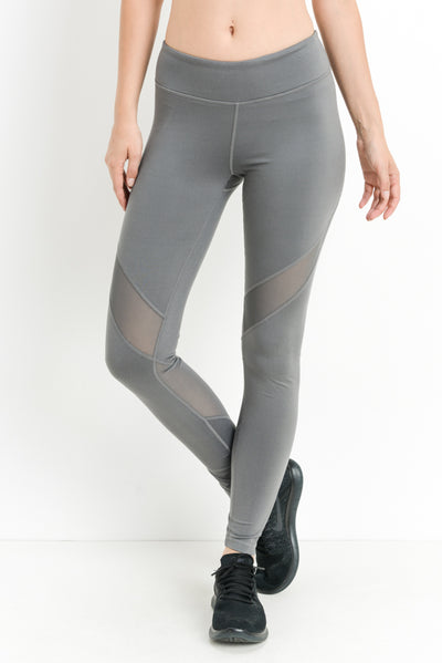 Slanted Wrap Mesh Full Leggings in Medium Grey | Allure Apparel Co