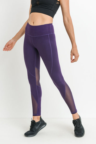 Sleek Slanted Mesh Panel Full Leggings in Eggplant | Allure Apparel Co