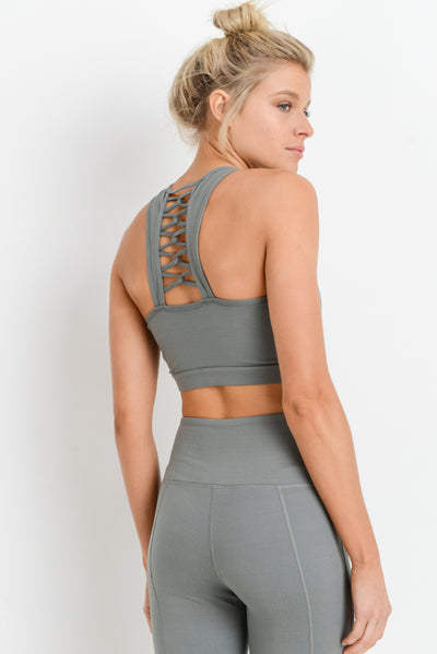 Solid Lattice Racerback Sports Bra in Green | Allure Apparel Co