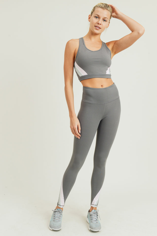 Solid Pastel Stripe Racerback Sports Bra & Solid Pastel Stripe High Waisted Leggings | Allure Apparel Co