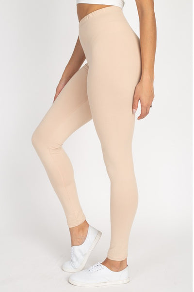 Solid Stretch Knit Full Leggings in Khaki | Allure Apparel Co