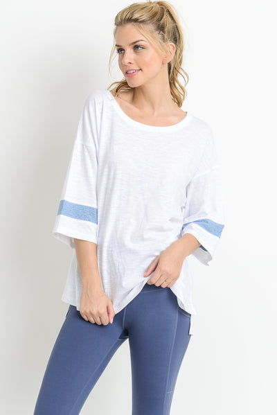 Solo Stripe Sleeve Accent Top in White | Allure Apparel Co