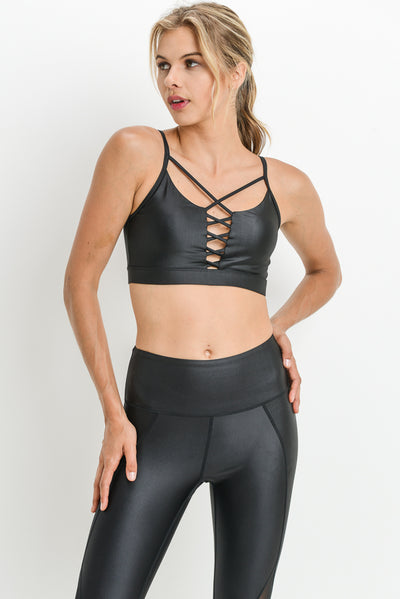Spaghetti Strap Lattice Front Glazed Sports Bra in Black | Allure Apparel Co