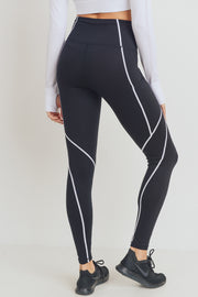 Splice Contrast Seam High Waisted Leggings in Black | Allure Apparel Co