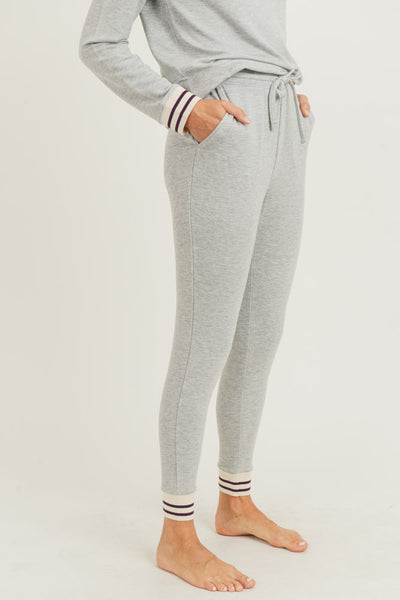 Striped Cuff Melange Sweatpants in Light Heather Grey | Allure Apparel Co