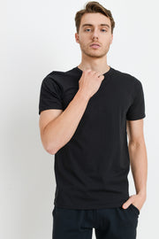 Supima Blend Garment-Dyed Crewneck Tee in Black | Allure Apparel Co