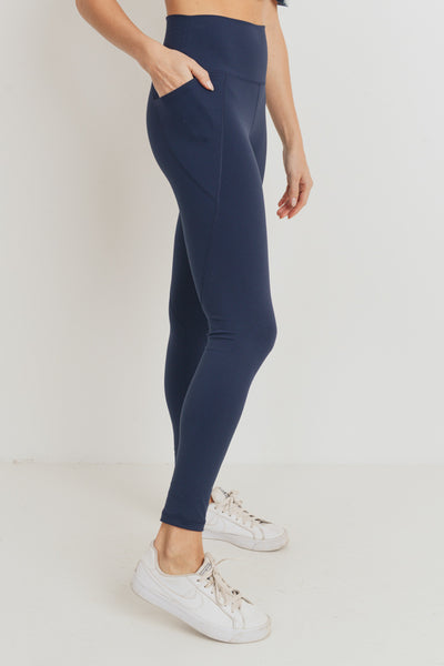 Tapered Essential Solid High Waist Leggings in Dark Navy | Allure Apparel Co