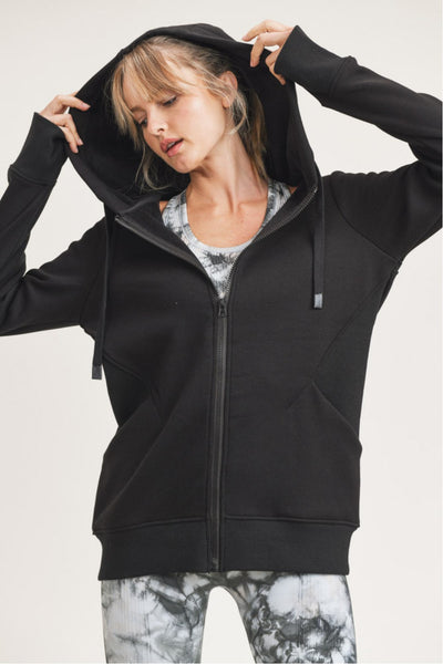 Terry-Knit Hoodie Jacket in Black | Allure Apparel Co
