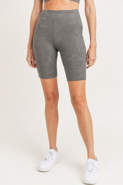 Textured Camo High Waisted Bermuda Legging Shorts in Gun Metal | Allure Apparel Co