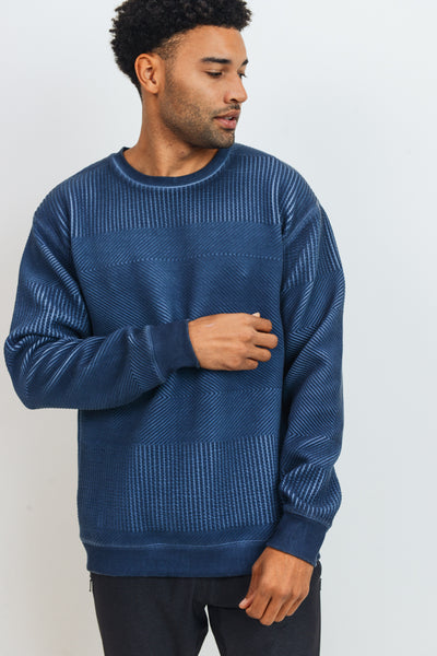 Textured Fabric Pullover in Navy | Allure Apparel Co