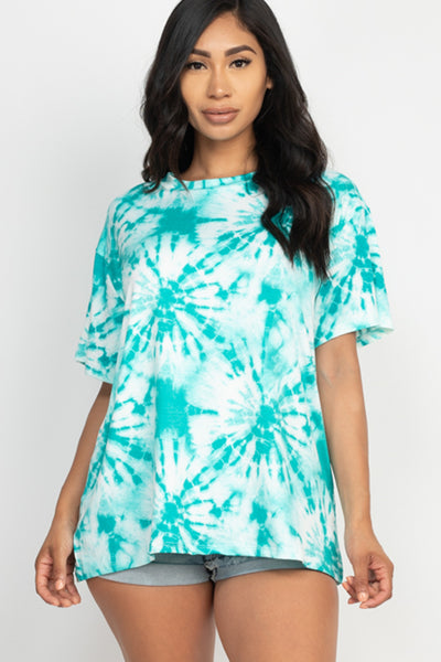 Tie Dye Oversized Top in Teal | Allure Apparel Co