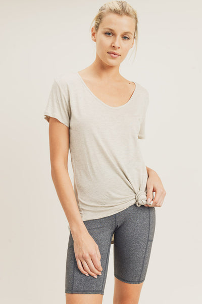 Tie Front Detail Top in Natural | Allure Apparel Co