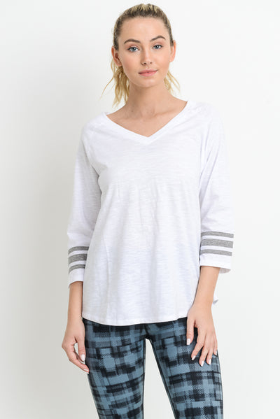 Triple Stripe V-Neck Shirt in White with Light Grey Sleeves | Allure Apparel Co