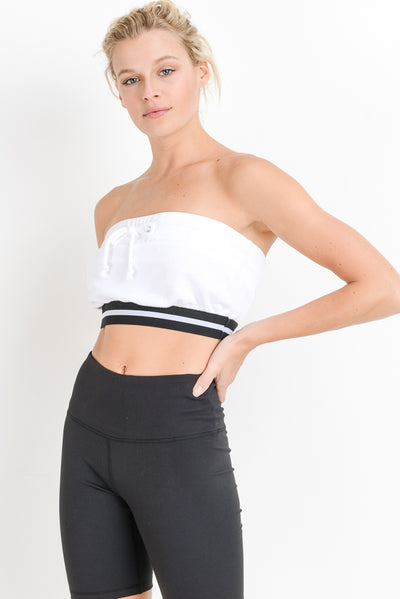 Varsity Style Tube Top in White | Allure Apparel Co