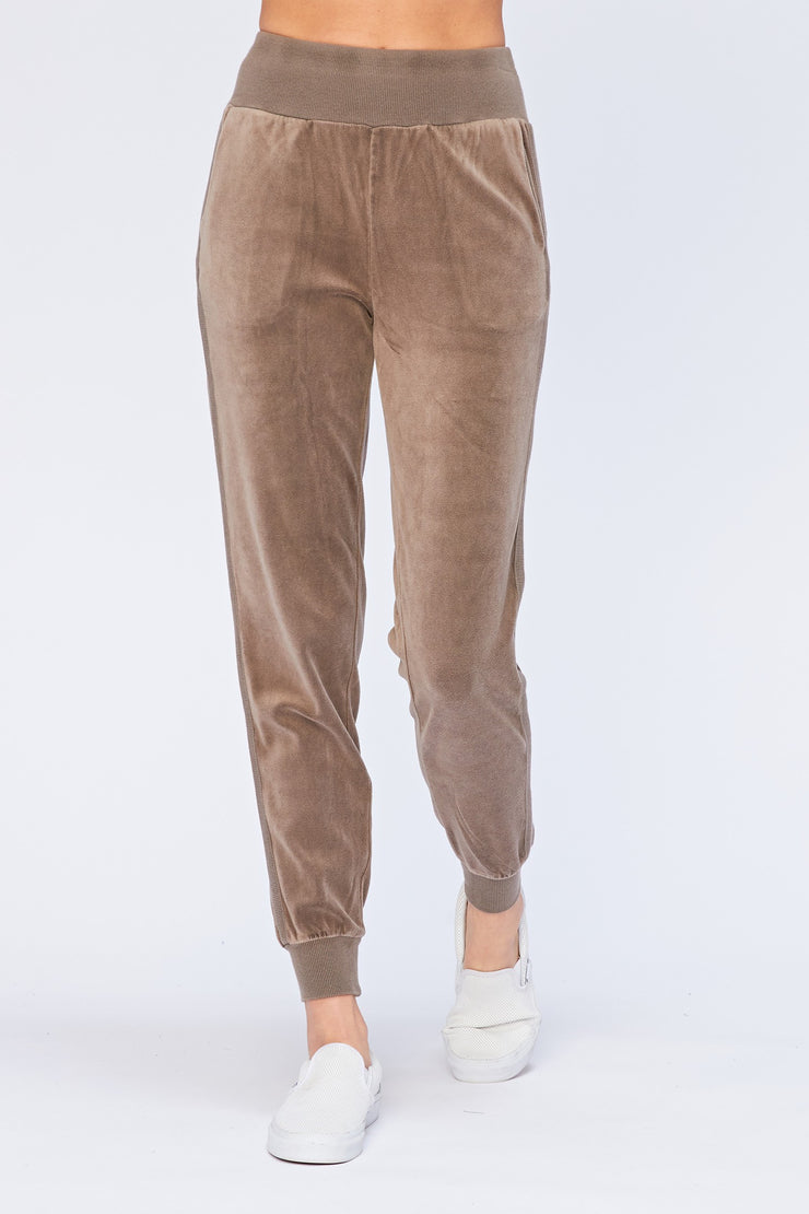 Velour Pull-On Jogger in Caribou | Allure Apparel Co