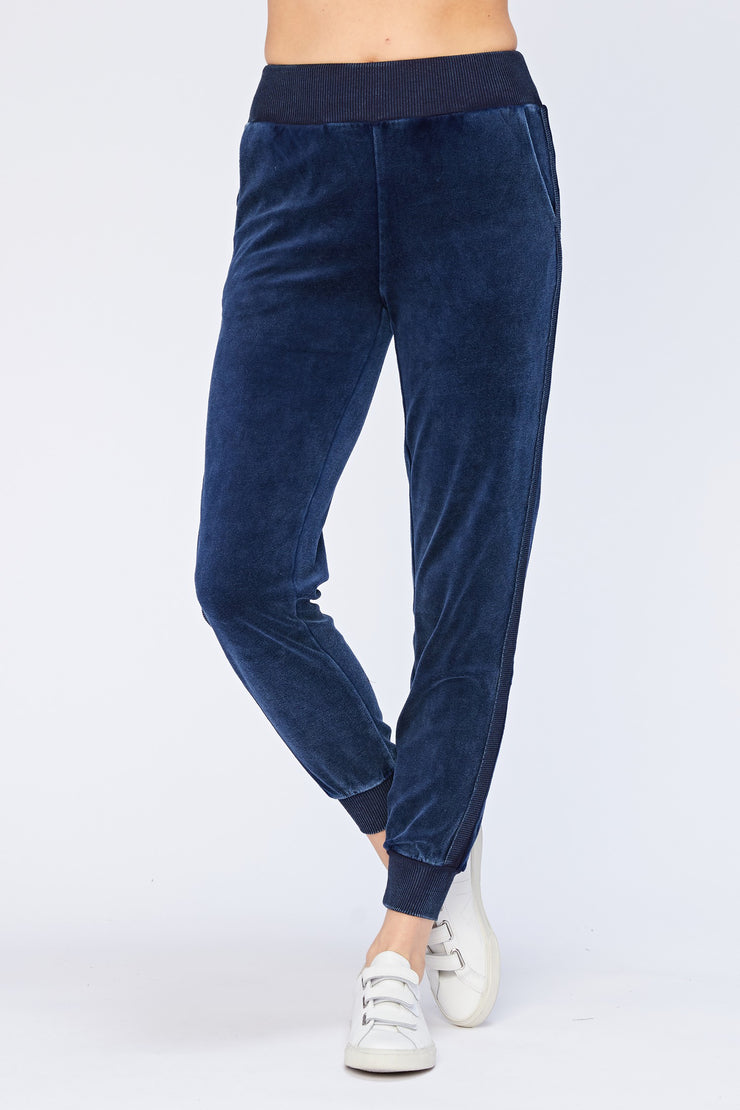 Velour Pull-On Jogger in Indigo | Allure Apparel Co