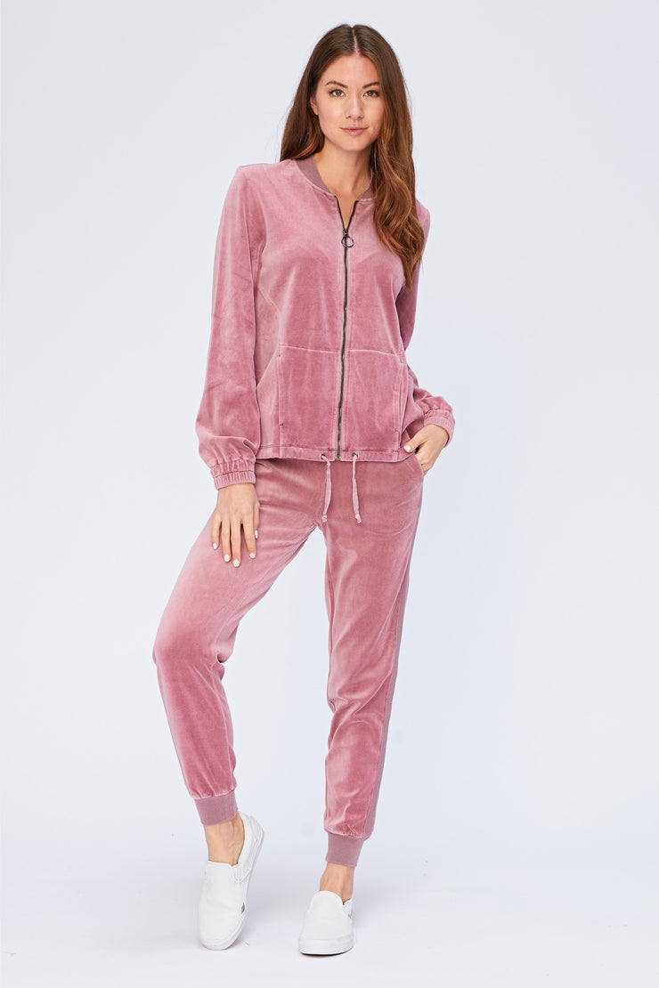 Velour Pull-On Jogger in Mesa Rose | Allure Apparel Co