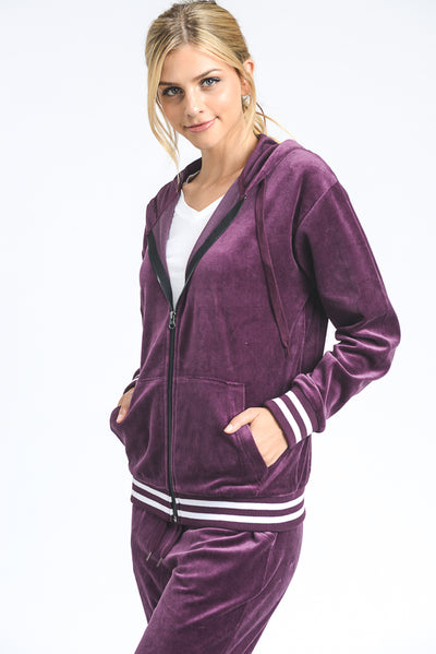 Velour Striped Hoodie Track Jacket in Plum | Allure Apparel Co