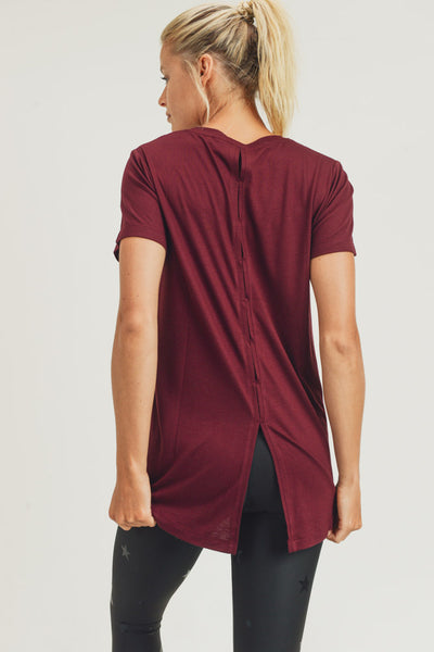 Ventilated Athletic Leisure Shirt in Burgundy | Allure Apparel Co