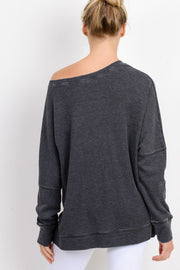 Waffle Ribbed Crew Pullover in Black | Allure Apparel Co