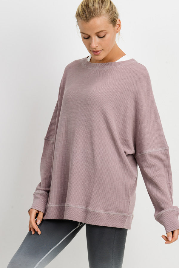 Waffle Ribbed Crew Pullover in Dusty Pink | Allure Apparel Co