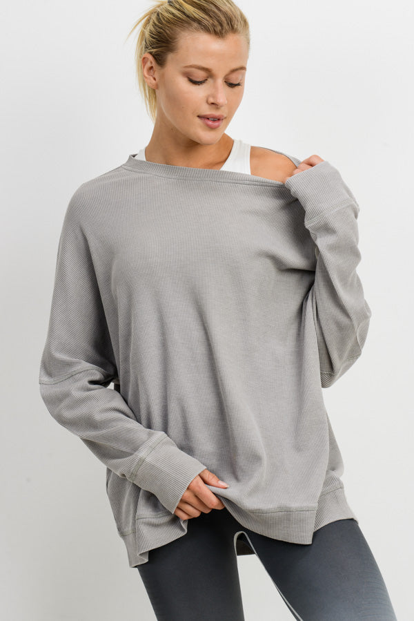 Waffle Ribbed Crew Pullover in Light Grey | Allure Apparel Co
