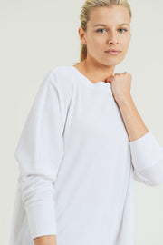 Waffle Ribbed Crew Pullover in White | Allure Apparel Co